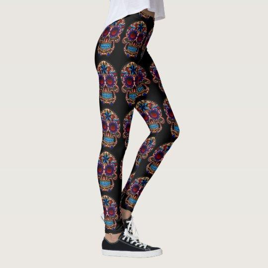 Sugar Skull Leggings on Black Halloween Pants