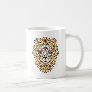 Sugar Skull Lion Head Tattoo Tribal Design Basic White Mug