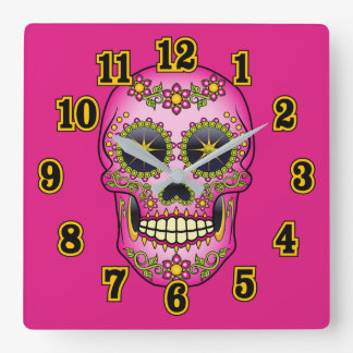 Sugar Skull Magenta Floral Wallclock