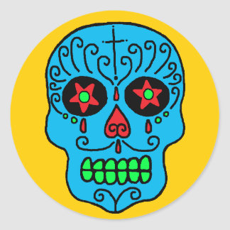 Sugar Skull Man Round Sticker