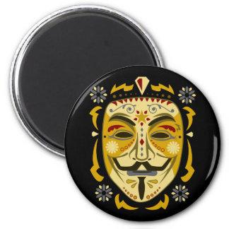 Sugar Skull Mask 6 Cm Round Magnet