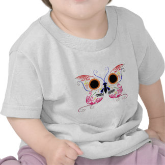 Sugar Skull Multi Pink Color Butterfly Shirts