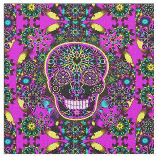 Sugar Skull Neon Pink Fabric