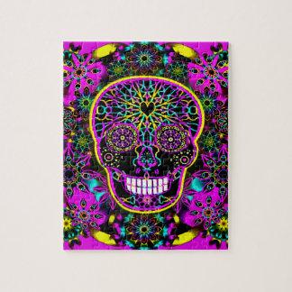 Sugar Skull Neon Pink Jigsaw Puzzle