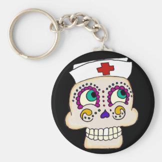 Sugar Skull Nurse Keychain