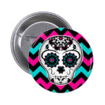 Sugar skull on chevron stripes pattern 6 cm round badge