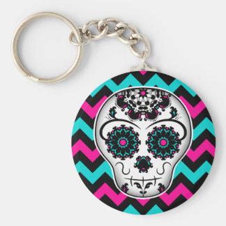 Sugar skull on chevron stripes pattern basic round button key ring
