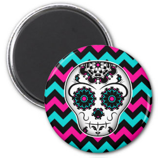 Sugar skull on chevron stripes pattern magnet