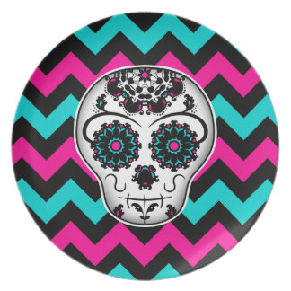 Sugar skull on chevron stripes pattern plate
