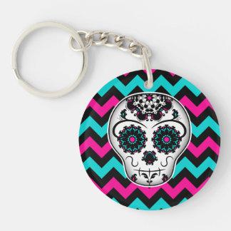 Sugar skull on chevron stripes pattern Single-Sided round acrylic key ring