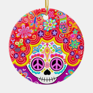 Sugar Skull Ornament - Day of the Dead Girl Art