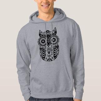 Sugar Skull Owl Black & White Hooded Pullover