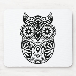 Sugar Skull Owl Black & White Mouse Pads