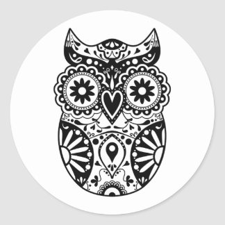 Sugar Skull Owl Black & White Round Sticker