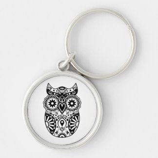 Sugar Skull Owl Black & White Silver-Colored Round Key Ring