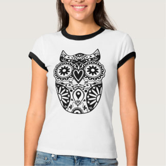 Sugar Skull Owl Black & White T-Shirt