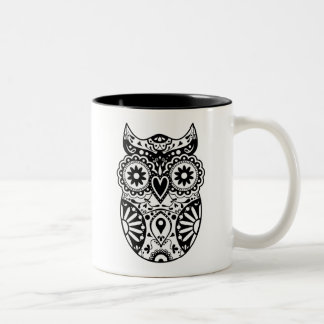 Sugar Skull Owl Black & White Two-Tone Coffee Mug