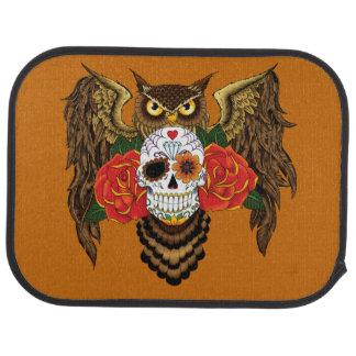 Sugar Skull Owl Car Mat