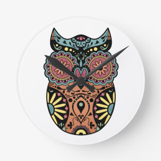 Sugar Skull Owl Color Round Clock