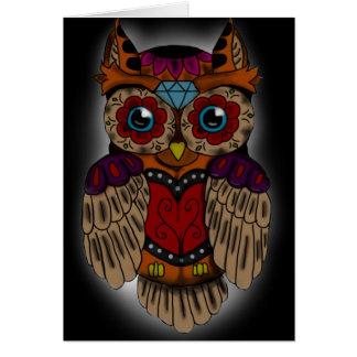 Sugar Skull Owl Greeting Card