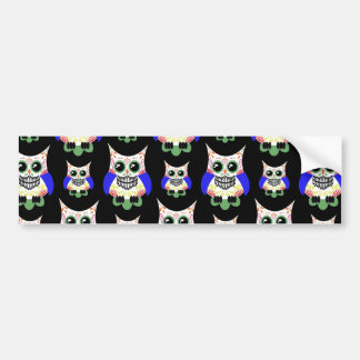 Sugar Skull Owl Print Bumper Sticker