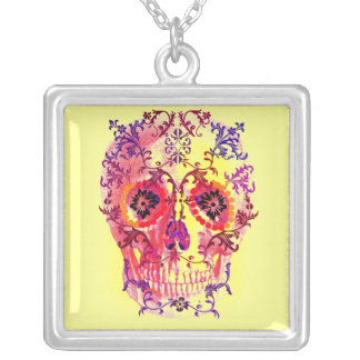 SUGAR SKULL PASTEL BRIGHTS PRINT SILVER PLATED NECKLACE