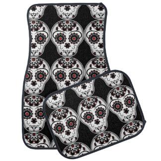 Sugar skull pattern car mat