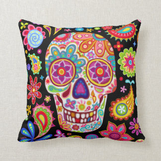 Sugar Skull Pillow - Colorful Day of the Dead Art