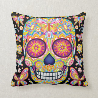 Sugar Skull Pillow - Day of the Dead Art