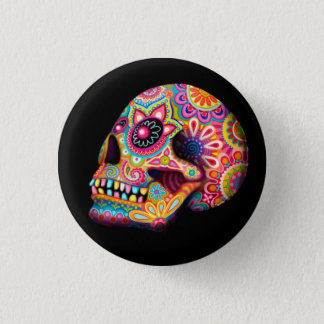 Sugar Skull Pin Button - Day of the Dead Art
