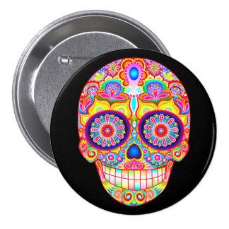 Sugar Skull Pin Button - Day of the Dead Art
