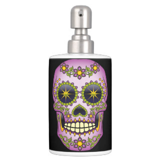 Sugar Skull Purple Floral Bathroom Set