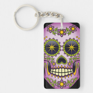 Sugar Skull Purple Floral Key Ring