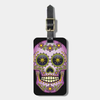 Sugar Skull Purple Floral Luggage Tag