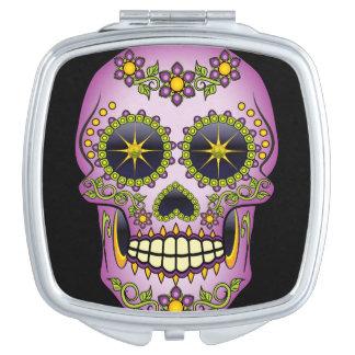 Sugar Skull Purple Floral Makeup Mirror