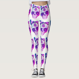 sugar skull purple leggings