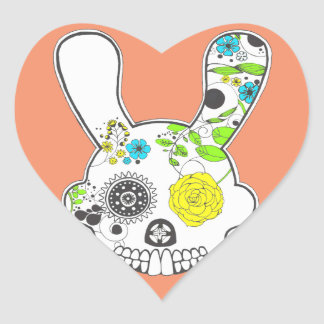 Sugar Skull Rabbit Heart Sticker