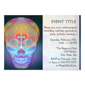 Sugar Skull, Rainbow Day of the Dead Personalized Announcements