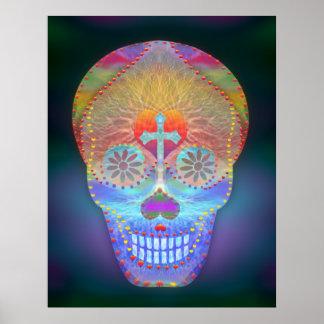 Sugar Skull, Rainbow Day of the Dead Poster