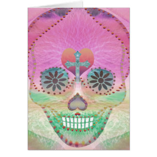 Sugar Skull Rainbow Heart Tree of Life Day of Dead Card