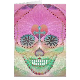 Sugar Skull Rainbow Heart Tree of Life Day of Dead Greeting Card