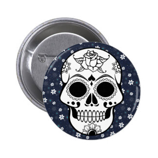 Sugar skull retro blue flower Button pin Badge