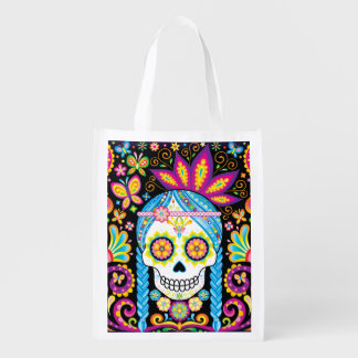 Sugar Skull Reusable Bag - Day of the Dead Bag