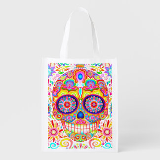 Sugar Skull Reusable Grocery Bag - Day of the Dead