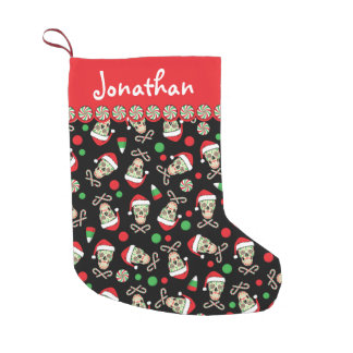 sugar skull santa customizable small christmas stocking