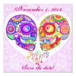 "Sugar Skull Save the Dates - Art by Thaneeya 5.25"" Square Invitation Card"