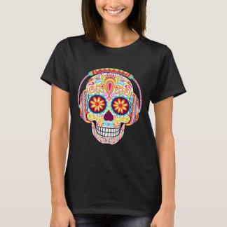 Sugar Skull Shirt - Sugar Skull Wearing Headphones