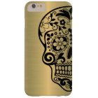Sugar Skull Silhouette On Faux Shiny Gold Barely There iPhone 6 Plus Case