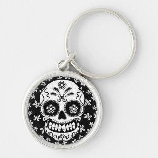 Sugar Skull Silver-Colored Round Key Ring