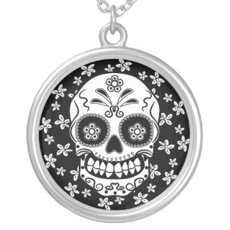 Sugar Skull Silver Plated Necklace